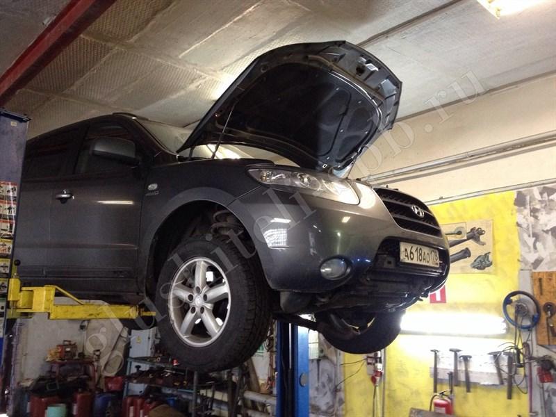 Замена двух катализаторов в выпускных коллекторах на катализаторы стандарта Евро-4 на автомобиле Hyundai Santa Fe  с объемом двигателя 2,5 литра бензин